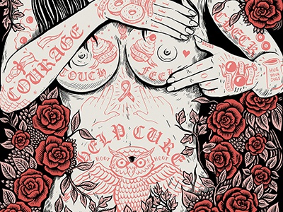 Festifeel rose floral boobs ink art charity exhibition drawing illustration