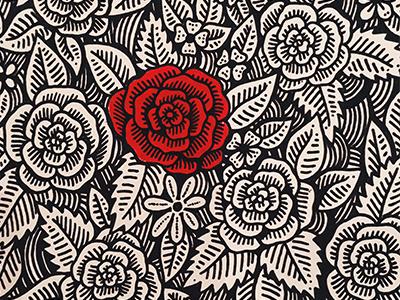 Valentines love valentines pattern art pen ink card floral rose illustration