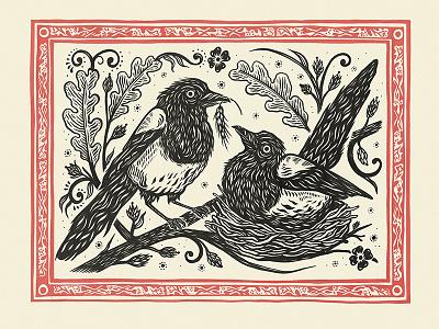 Magpies nature print birds folk wedding magpie drawing illustration