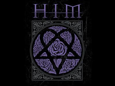 HIM rose drawing heartagram art him band illustration