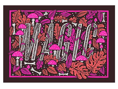 Blink Artworks floral leaves mushroom typography type ink pen art drawing illustration