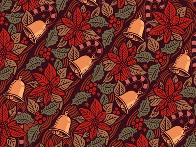 Repeat poinsettia holly bell repeat pattern christmas drawing illustration