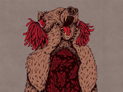 Ursul ink pen romanian folklore bear ursul urs drawing illustration