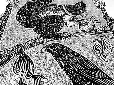 Nutcrackers drawing ink animals nature folklore folkart art romanian illustration