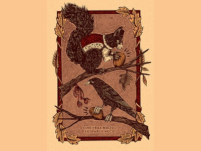 Nuts drawing ink animals nature folklore folkart art romanian illustration