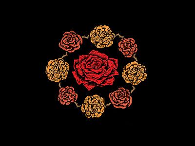 Roses design art logo crest rose floral illustration