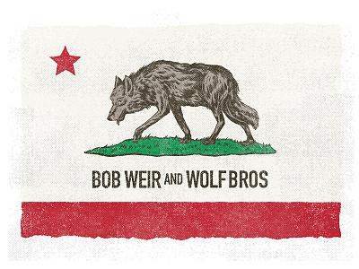 Bob Weir And Wolf Bros logo band art flag design wolf illustration