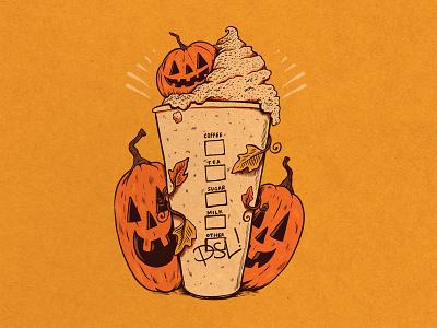 WEENZINE V latte art spooky october halloween drawing challenge art pumpkin psl drawing illustration
