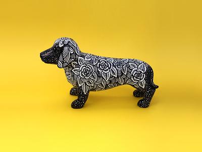 Cosmic Sausage sharpie art daschund sausage dog dog floral pen and ink drawing illustration