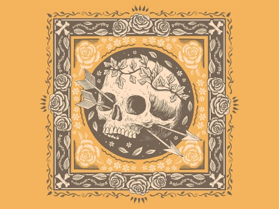 Bandits Bandana's outlaw skull bandana pen and ink drawing illustration