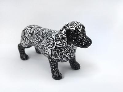 Starry sausage dog dog marker ink pen sharpie art floral drawing illustration