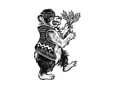 Lino print printmaking lino print logo design folklore folk art bear lino art linocut lino illustration