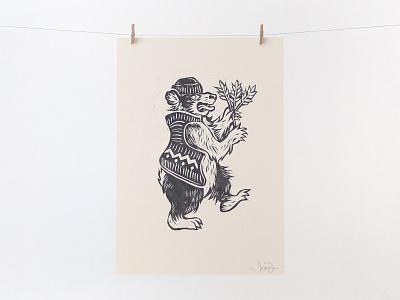 Harvesting Bear illustration bear illustration bear printmaking linoblock lino cut linocut lino art lino