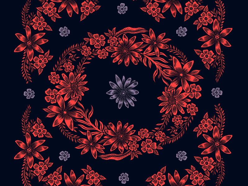 Flora floral design pattern art floral art pattern floral drawing illustration