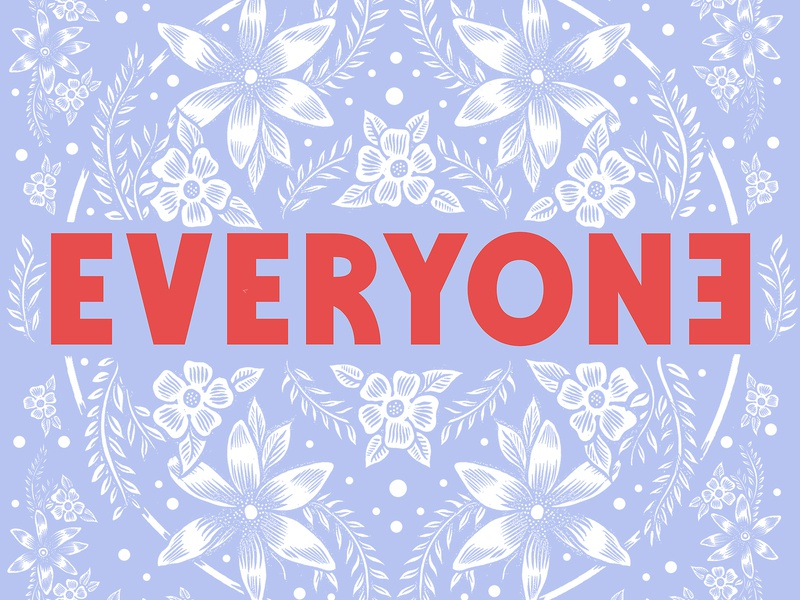 Everyone logo floral sam dunn design everyone pen and ink drawing illustration