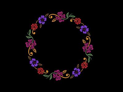 Ring art border design floral drawing illustration