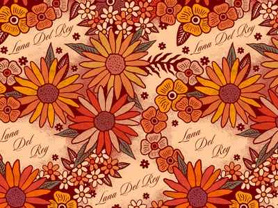 Lana Del Rey colour design retro floral art pattern illustration