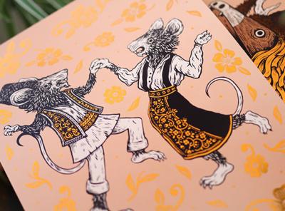 Wolf & Badger - Prints Available Now design sam dun print design copper foil foil print pen and ink drawing