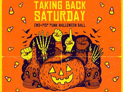 Taking Back Saturday pumkin halloween art pen and ink drawing illustration