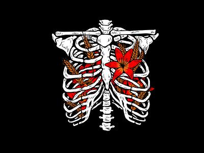 Hardpressed sam dunn design tshirt ribcage drawingart pen and ink drawing