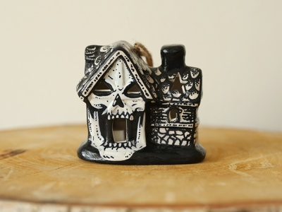 Haunted House Bauble bauble xmas christmas halloween haunted house ink sam dunn art pen and ink drawing