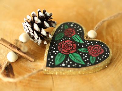 Xmas xmas christmas cute hand drawn floral rose heart bauble