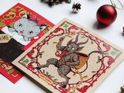 Christmas Cards pen and ink sam dunn illustration design christmas cards christmas drawing