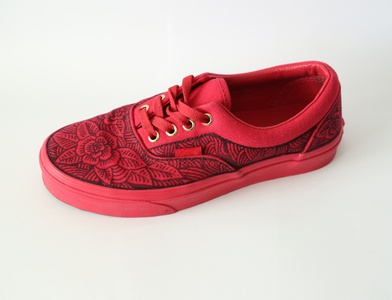 Vans tattoo rose florals red custom shoes sneakers shoes custom sharpie pen and ink hand drawn