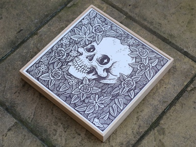 Canvas wood sharpie original art floral art floral drawings drawing ink skull illustration design pen and ink drawing illustration