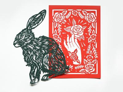 Die Cuts hare floral diecut drawing