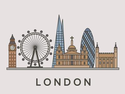 London City illustration  london city colors flat design stroke design illustraion
