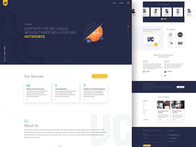 Landing page design for IT industry home page design website designing company it company blue and orange blue website white web page user experience design landing page ui