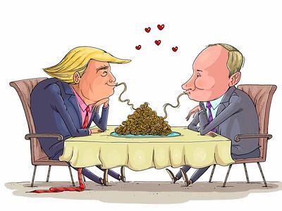 Trump vs Putin illustration art press cartoon political cartoon usa russia friendship day spageti friendship donald trump vladimir putin