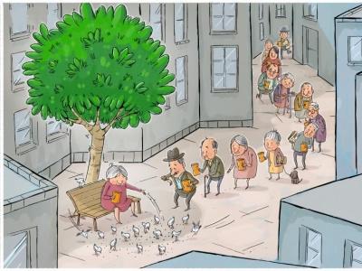 trees in cities green kindness dog people birds city trees mahnaz yazdani design social cartoon illustration editorial cartoon press cartoon