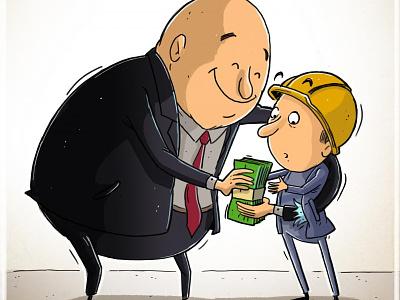 Labour income work robery theft low income socialism worker day mahnaz yazdani political cartoon social cartoon illustration design editorial cartoon press cartoon