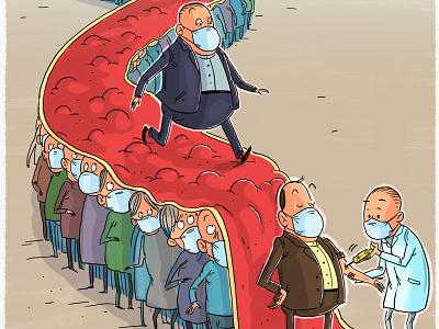Health inequality doctors medical unequality elite politicians vaccine vaccination corona virus mahnaz yazdani design illustration political cartoon social cartoon editorial cartoon press cartoon