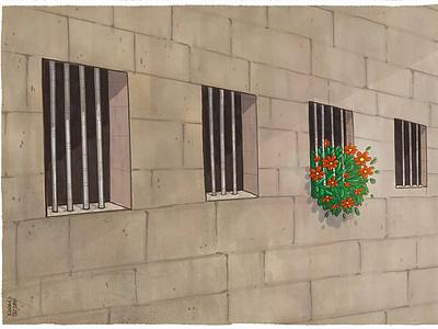 Add joy to your life political cartoon iron bars wallet flower jailbreak jail corona virus mahnaz yazdani design illustration social cartoon editorial cartoon press cartoon