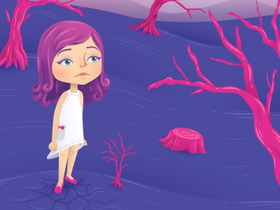 Climate Change vector magazine illustrator illustration girl editorial earth drought climate change