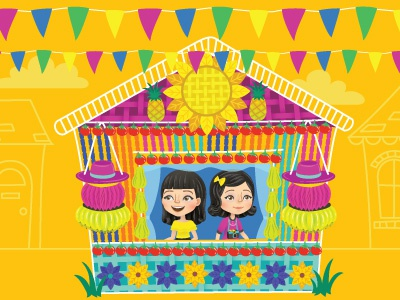Pahiyas Celebration vibrant vector illustrator illustration happy folk fiesta festival colorful celebration