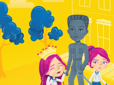 Statue vector sunny school illustrator illustration girls emilio aguinaldo crying characters bright