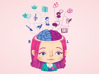 Brainy vector smart magazine illustrator illustration girl editorial character brain