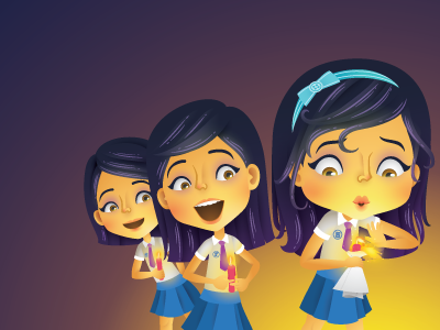 Light vector students school magazine illustrator illustration girls editorial character candle blowing