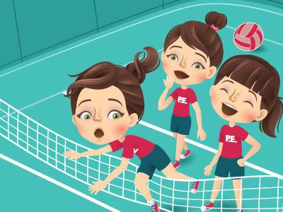Stumble volleyball vector sports school magazine illustrator illustration girls editorial character