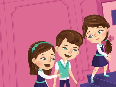 Writing stairs school magazine vector laughing illustrator illustration girls editorial childrens character
