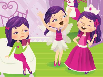 Dress-up vector princess magazine illustrator illustration girls fairy editorial dress-up childrens characters
