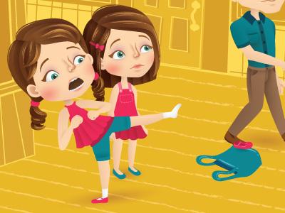Flying Kick vector school magazine kick illustrator illustration girls editorial childrens character
