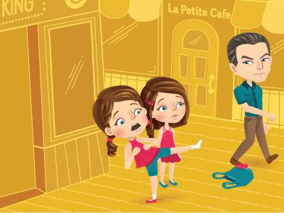 Flying Kick (whole scene) vector school man magazine kick illustrator illustration girls editorial childrens character