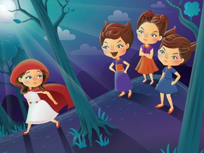 Red Riding Hood vector night magazine illustrator illustration girls forest editorial childrens character