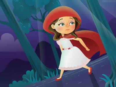 Red Riding Hood Closeup 1 vector night magazine illustrator illustration girls forest editorial childrens character