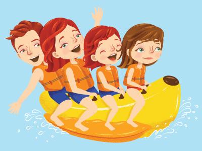 Summer Splas summer bananaboat banana beach kids characters childrens children character magazine editorial vector illustrator illustration